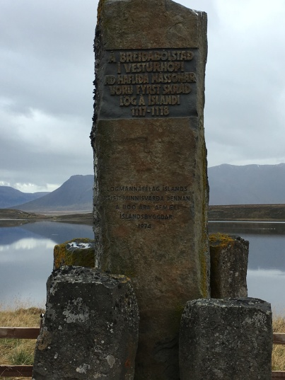 The dedication pillar. Where the laws of Iceland were first drafted